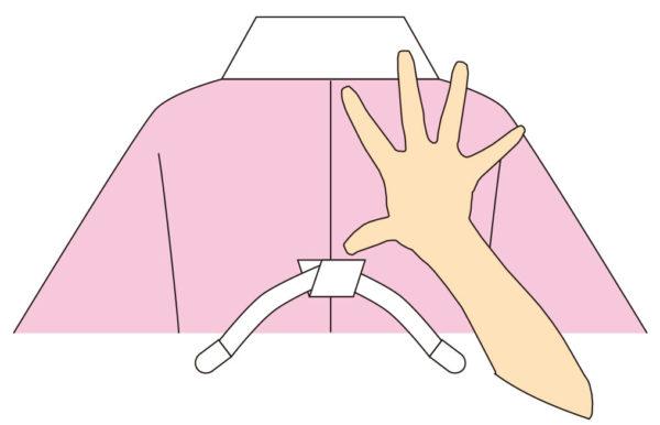 【1】 長襦袢に長襦袢ゴムを衿付けから手一つの位置に付けておきます。衿には裏側より衿芯を入れておきます。コーリンベルト(内肩巾の長さ)を長襦袢ゴムに通しておきます。