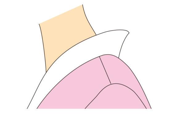 【2】 長襦袢の左右の半衿止りを右手でもち、左手で背中心を持って肩になじませます。衣紋の抜き加減をきめます。