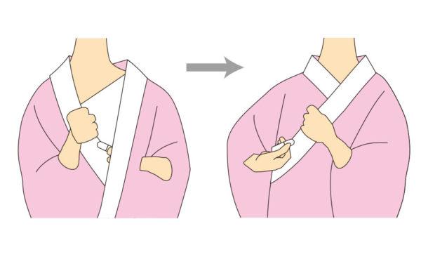 【3】 下前は左バストをかくすように持っていき、後ろからコーリンベルトを引いてとめます。上前も同様にしてとめます。しわを取り整えます。