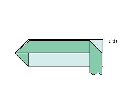 【2】 たれのところから三角に折る